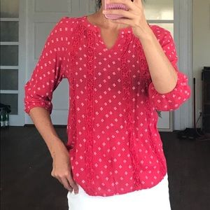 BOGO! 3/4 sleeve Indian style tunic red blouse sm